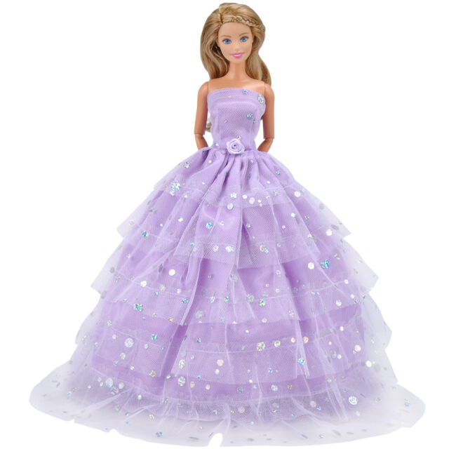 Handmade Dolls Clothes Purple Wedding Dress Party Gown Outfit for Girl Doll S