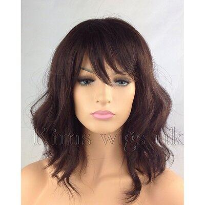 FULL WOMEN LADIES FASHION HAIR DARK AUBURN BROWN WAVY SHOULDER LENGTH BOB UK