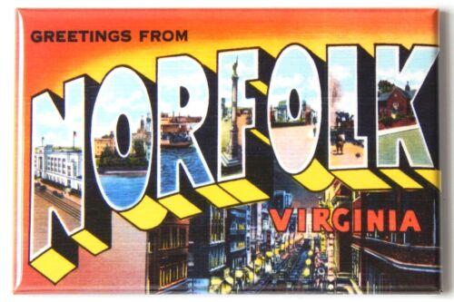 "Greetings from Norfolk Virginia FRIDGE MAGNET travel souvenir /""style A/"""