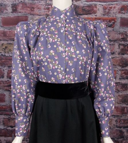 Victorian Inspired Womens Clothing   FRONTIER CLASSICS Slate Blue Print Garden City Blouse Dickens SASS Steampunk $36.95 AT vintagedancer.com