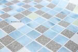 Bagni Blu Mosaico : Thick bling blue mosaic wallpaper kitchen bathroom tiles feature