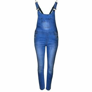 2f129424fb7 Details about NEW KIDS GIRLS STRETCH DENIM LONG PLAYSUIT JUMPSUIT DUNGAREE  JEANS Size 7 to 13