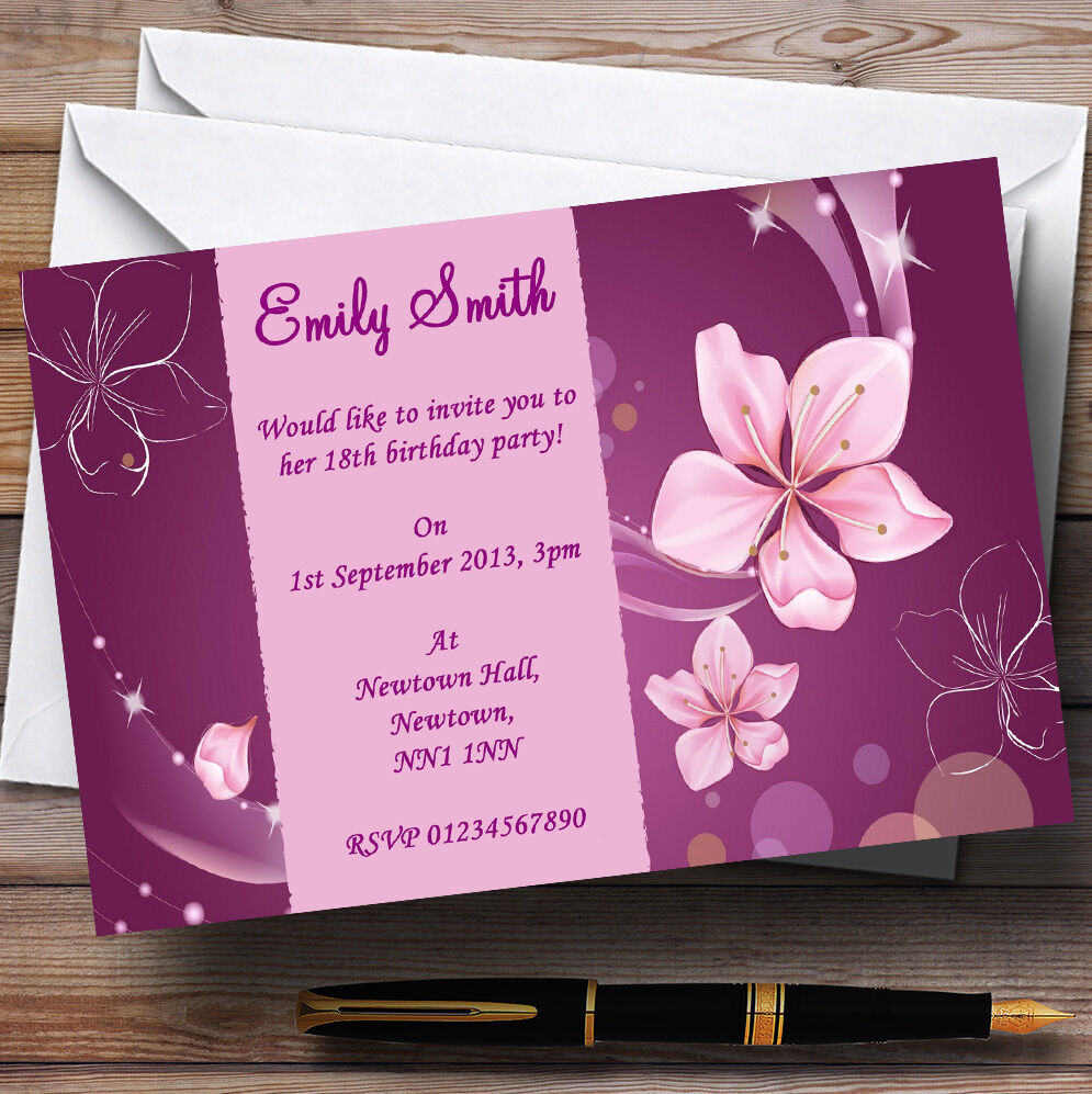 lila Flowers Personalised Party Invitations