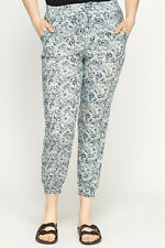 Paisley Elasticated Trousers Navy / Cream Size UK (8-10)