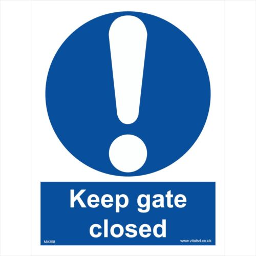 KEEP GATE CLOSED SAFETY STICKER RIGID MA398 INDOOR OUTDOOR SIGN Buy 2 get 1 Free