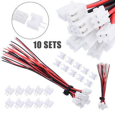10 Set Mini Micro JST XH2.54mm 2-Pin Connector Plug With Wires Cables 150mm Kit