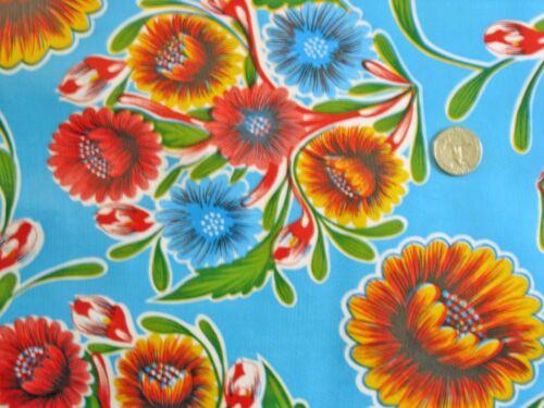 AQUA BLUE BLOOM MEXICAN FIESTA PICNIC PATIO BBQ OILCLOTH VINYL TABLECLOTH 48x108