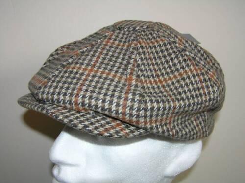 8 PANEL TWEED WOOL FLAT CAP BEIGE BROWN 60CM XL NEW