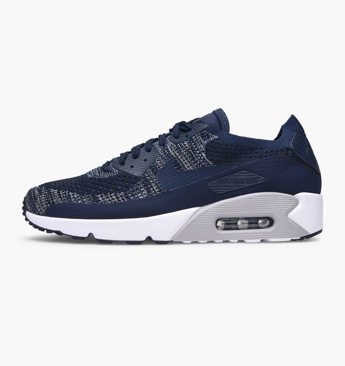 Nike Air Max 90 Ultra 2.0 Flyknit College Navy Wolf  Gris  Uk
