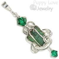 Green Tourmaline Crystal Wire Wrapped Pendant In Sterling, Artisan Handmade