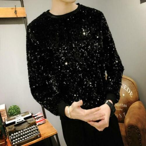 Men Sequin Bling Sweater Long Sleeve Glitter Pullover Shirt Top Shiny DJ Clothes