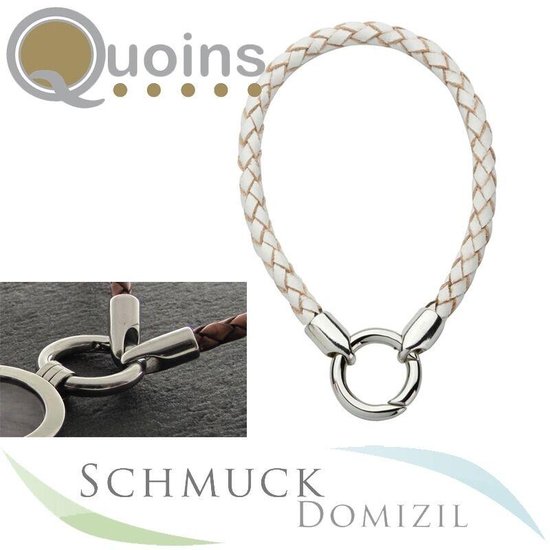 Quoins - 60 cm Kette aus Leder + Edelstahl - white - Lederkette