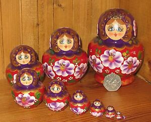 Russian-nesting-dolls-Matryoshka-Babushka-10-Purple-Red-hand-painted-SIMAKOVA