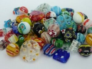 80-pce-Millefiori-Glass-Beads-Mix-Size-Shape-amp-Colours-4mm-16mm
