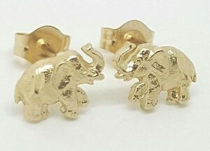 Image Is Loading 14k Solid Yellow Gold Elephant Stud Earrings Women