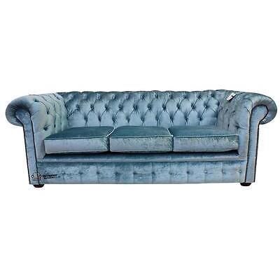 Chesterfield 3 Seater Boutique Sky Blue Velvet Fabric Sofa Settee