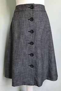 BANANA REPUBLIC Charcoal Grey Button Front A-Line Skirt UK 8 10 Lined Pockets
