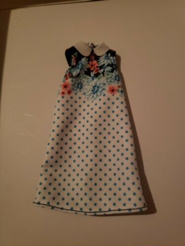 *BARBIE DRESS* BLUE /& WHITE FLORAL DRESS WITH WHITE COLLAR