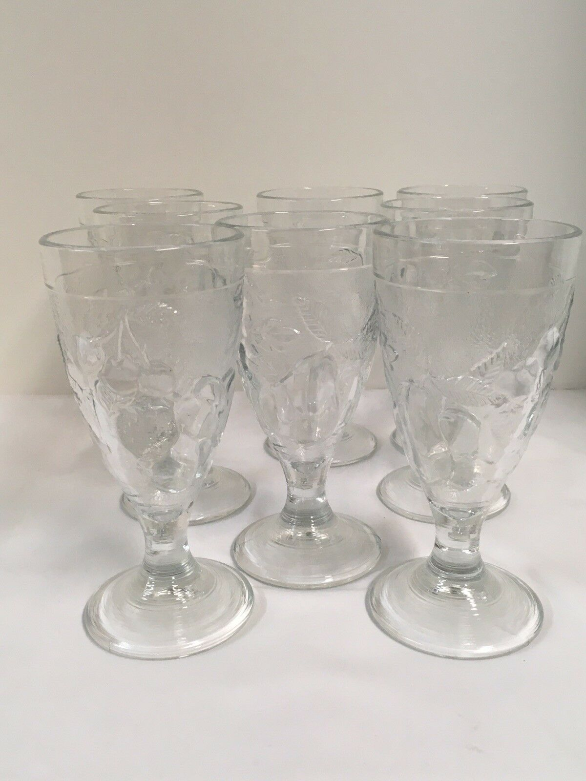 8 Clear Footed Ice Tea Or Parfait Glasses Pear Pattern Beautiful