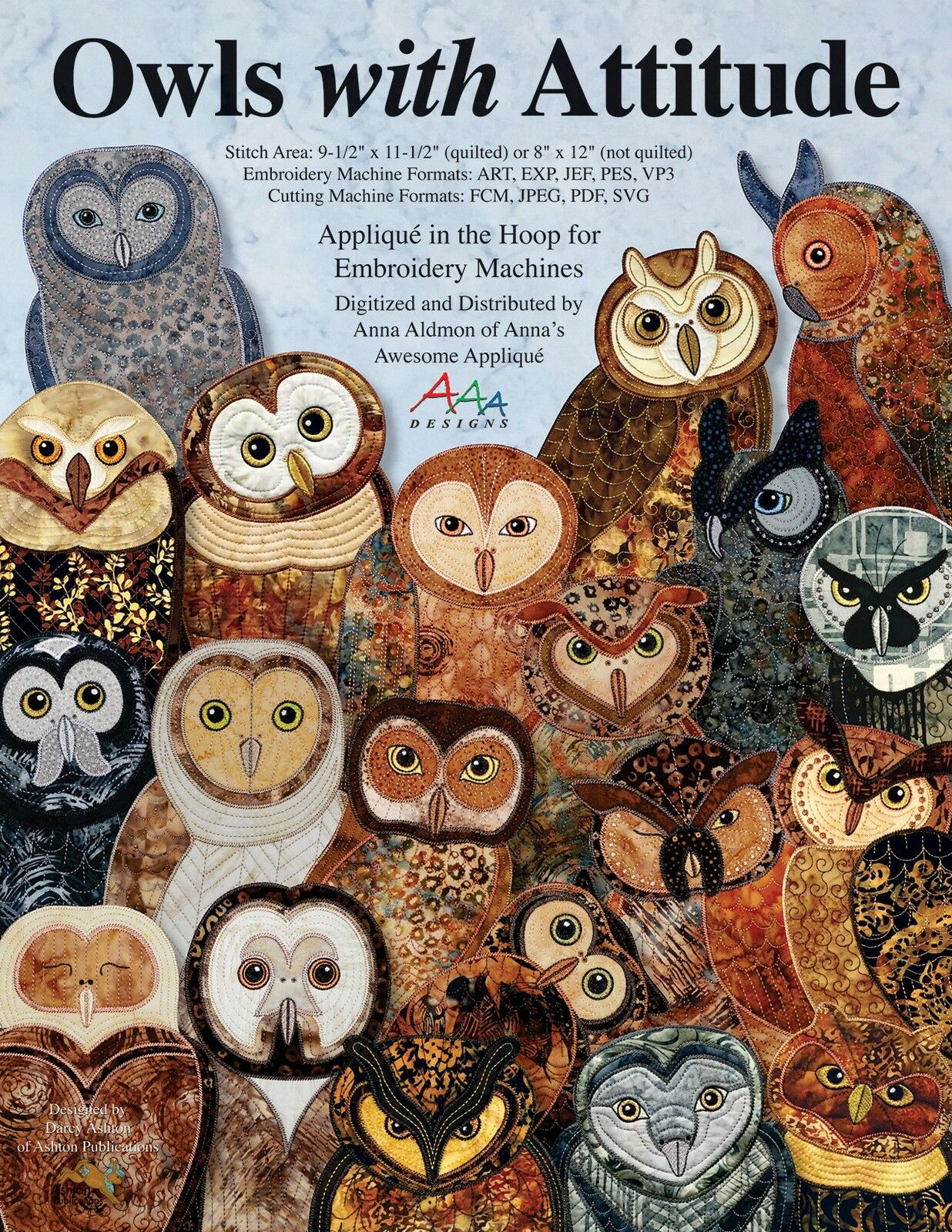 Owls With Attitude Machine Embroidery Cd Applique In Hoop Aaa Quilt