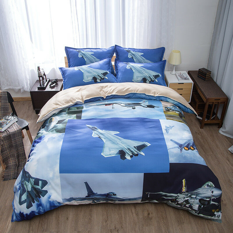 Cool Gift Military Warplane Battle Plane Bedding Duvet Cover Set+2pcs Pillowcase