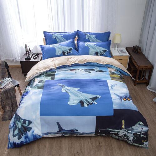 Cool Gift Military Warplane Battle Plane Bedding Duvet Cover Set+2pcs Pillowcase