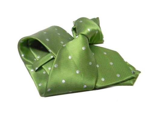 Cravatta uomo verde mela a pois spaziati bianchi cravatte a pallini 8