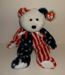 9bf0d4810a7 SPANGLE THE PATRIOTIC AMERICAN USA FLAG BEAR TY BEANIE BUDDY 14 ...