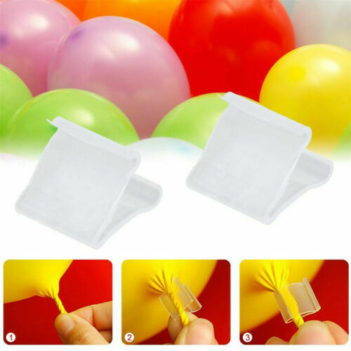 Clear Quick /& Easy Balloon Clip Ties for Sealing Helium Gas Air Balloons