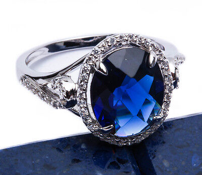 7ct Halo Style Blue Sapphire CZ .925 Sterling Silver Ring Sizes 5-10