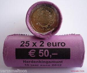 NEDERLAND-ROL-met-25-x-2-EURO-034-10-JAAR-EURO-2012-unc-ZEER-SCHAARS