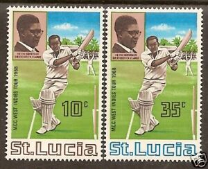 ST-LUCIA-1968-MCC-CRICKET-TOUR-of-WEST-INDIES-2v-MNH