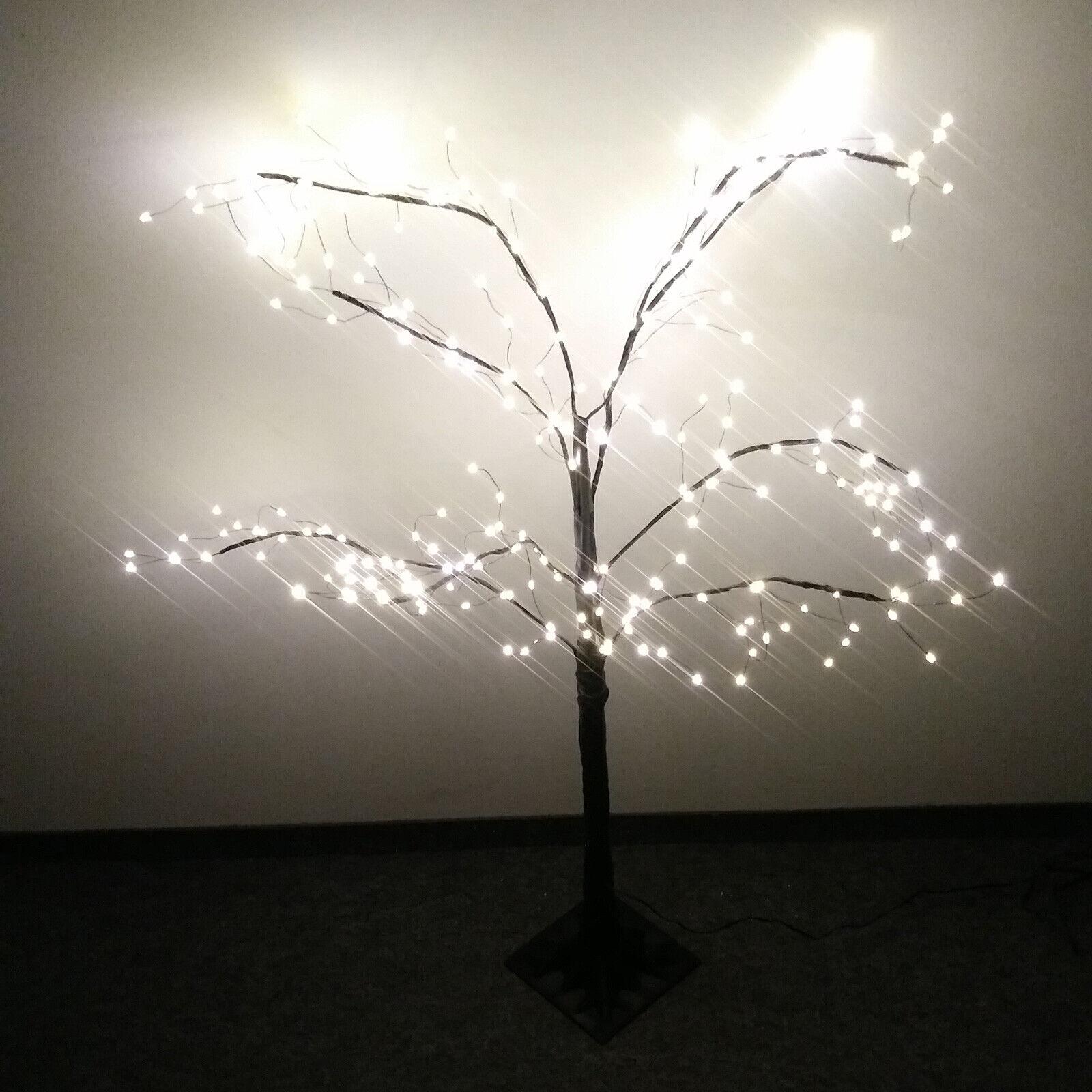 Lichterbaum schwarz 300 LED warmweiss mit Fuss Trauerweide 120 cm Weihnachtsbaum