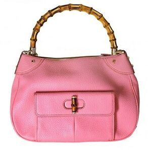 Image Is Loading New Gucci Bamboo Handle Pink Grainy Leather Tote
