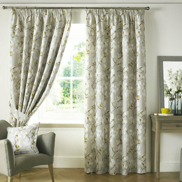 Ashley Wilde Anita Totalmente Forrado Cortinas PLISADAS DE LÁPICES Floral Marrón W 229 D 229 Cm