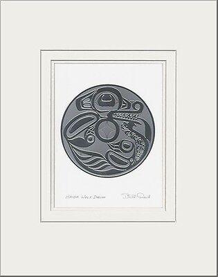 Haida artist BILL REID Embossed SILVER WOLF DRUM matted art print