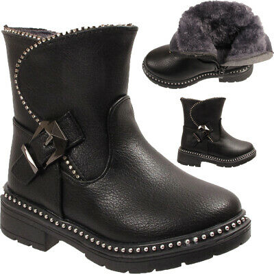 GIRLS KIDS BLACK PATENT QUILTED DIAMANTE BUCKLE BOOTS