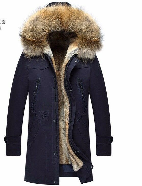 SNML Parka real rabbit fur lining with bluee (Vulpes lagopus) hood man