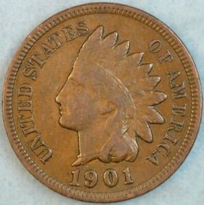 1901-Indian-Head-Cent-Vintage-Penny-Old-US-Coin-Full-Rims-Fast-S-amp-H-36304