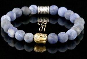 Sodalith-blau-matt-Armband-Bracelet-Perlenarmband-Buddhakopf-gold-8mm