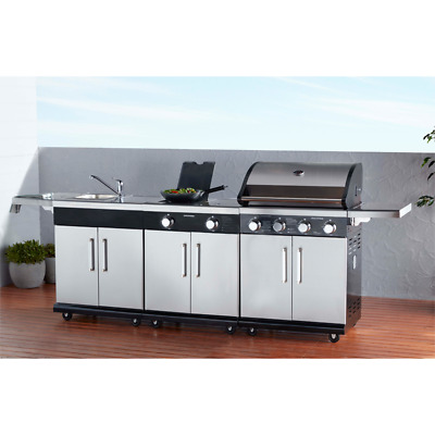 NEW Discoverer Island Inc BBQ, Sink, Range and Side Shelves By BBQs Galore