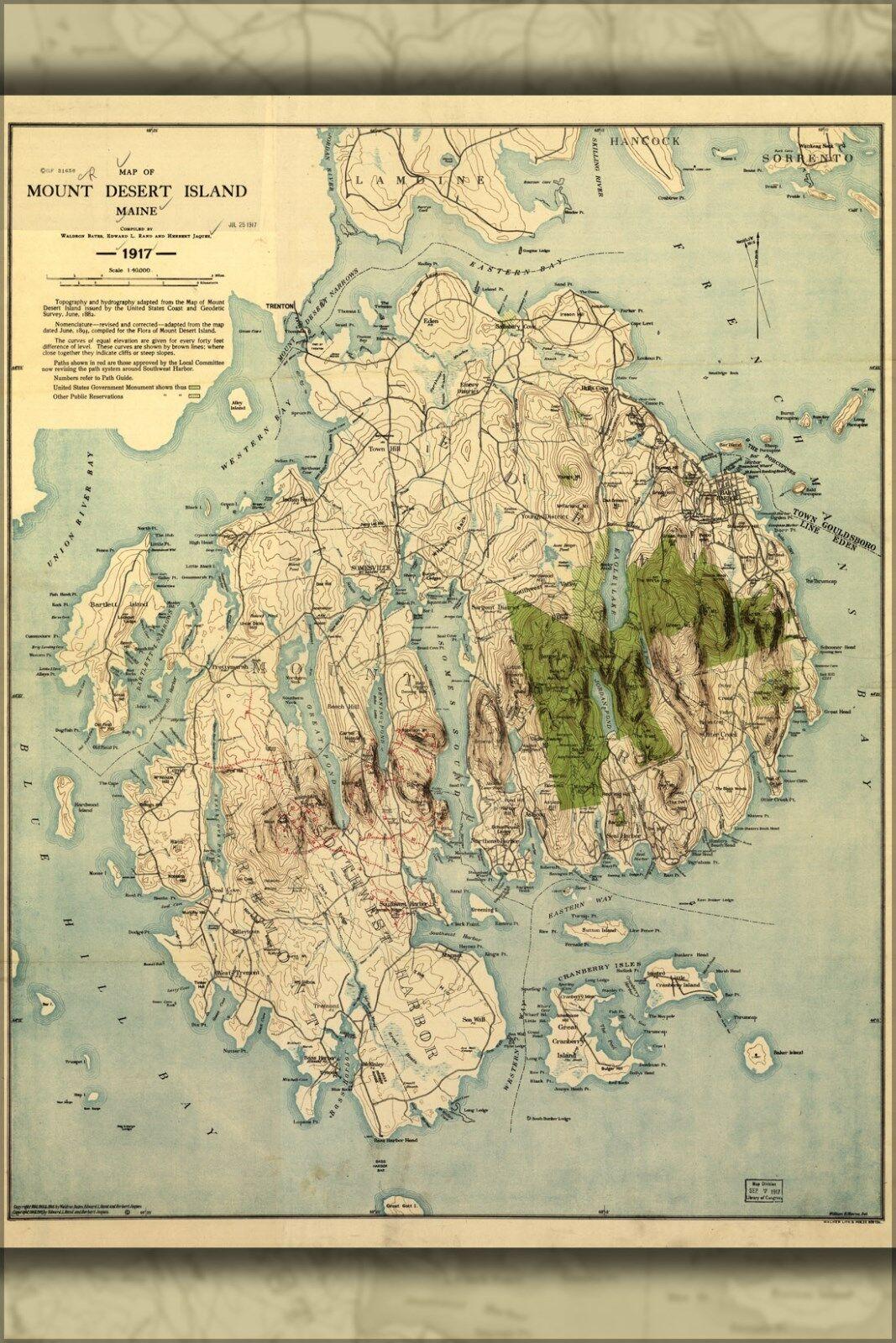 Plakat, Viele Größen; Karte von Halterung Wüste Insel, Maine 1917