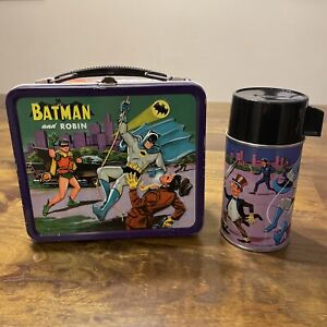 RARE Vintage 1966 Batman and Robin Metal Lunchbox by Aladdin, With Thermos