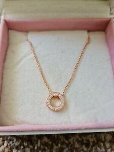 Details about Genuine Rose Gold Logo Pave Circle Collier Pandora Necklace  Ale Met R 45Cm