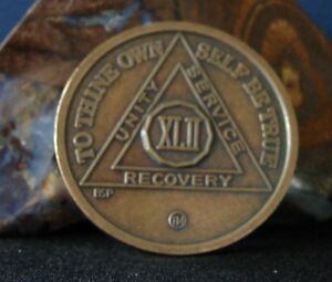 42 Year Alcoholics Anonymous AA NEW Bronze Medallion Coin Chip Token Medal