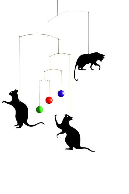 Flensted Feline Fun Black Cat Hanging Baby Mobile