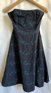 Betsey-Johnson-Blue-Floral-Women-s-Strapless-Party-Cocktail-Prom-Dress-Size-6