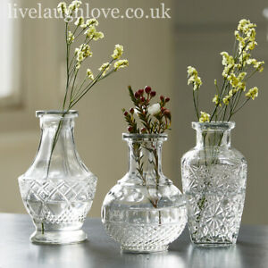 Set Of 3 Assorted Decorative Clear Glass Vases Set A Ebay