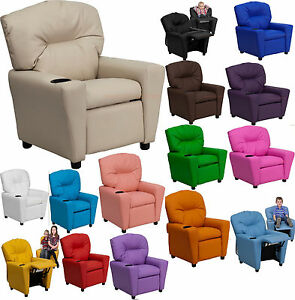 Kids-Childs-Movie-Tv-Recliner-Home-Theater-Chair-Modern-Cup-Holder-16-Colors