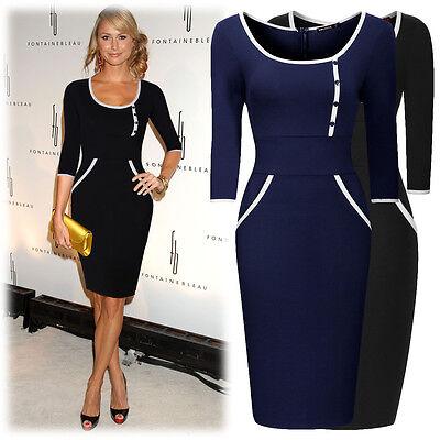 Damen Businesskleid Abendkleid Festlich Partykelid Ball Kleid 60er 70er Gr36-46